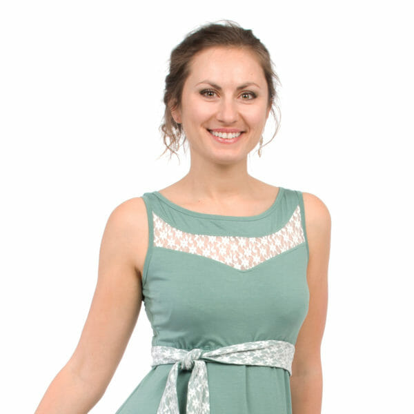 Maternity and nursing cocktail dress ALMA in mint with white lace - detailed view of front top with lace inset