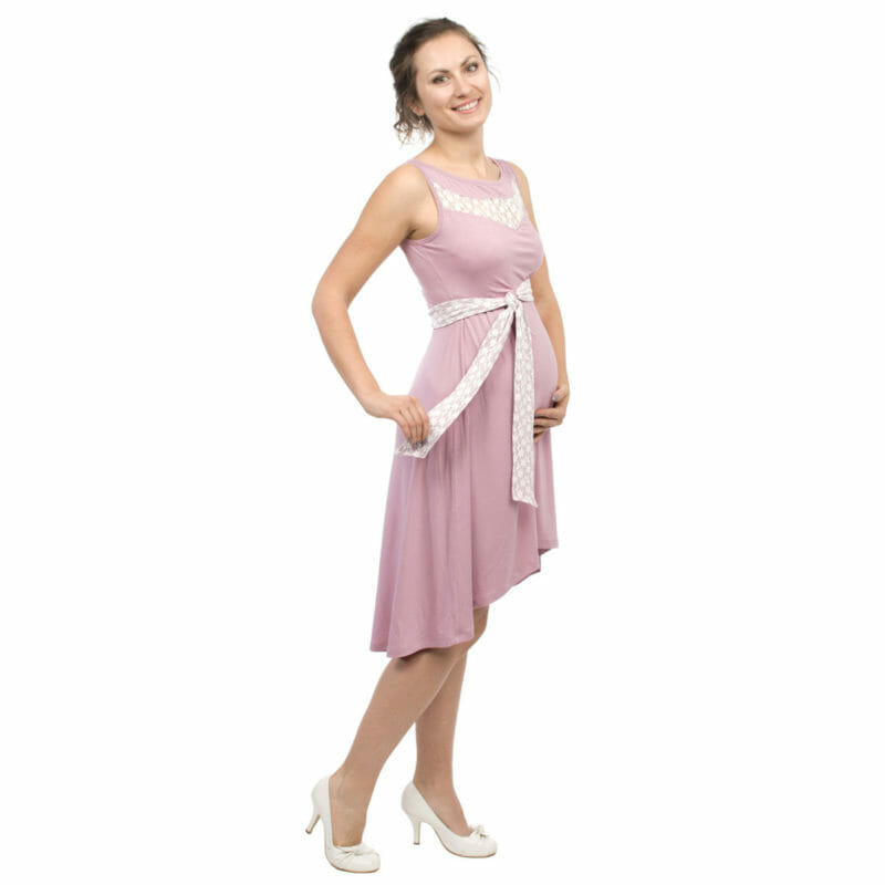 6403d6e435c4c Maternity and nursing cocktail dress ALMA in pink with white lace -  pregnant model with left