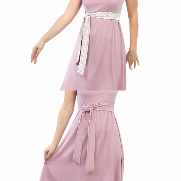 Maternity and nursing cocktail dress ALMA in pink with white lace - top photo belt with lace on top and bottom photo belt with pink fabric