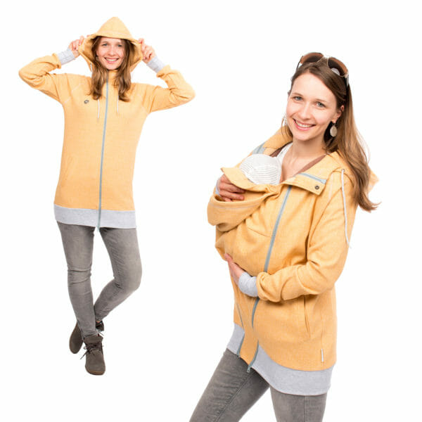 Babywearing Hoodie Summer Sweat CLEO in yellow - on left hand side model wears jacket without inserts and has hood on and on right hand side babywearing model wears jacket with babywearing insert and carries baby