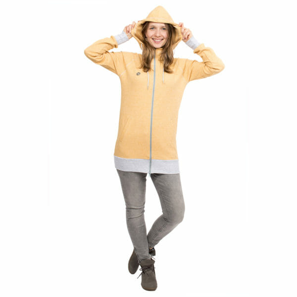 Babywearing Hoodie Summer Sweat CLEO in yellow - model wears jacket without inserts and hood on - front view