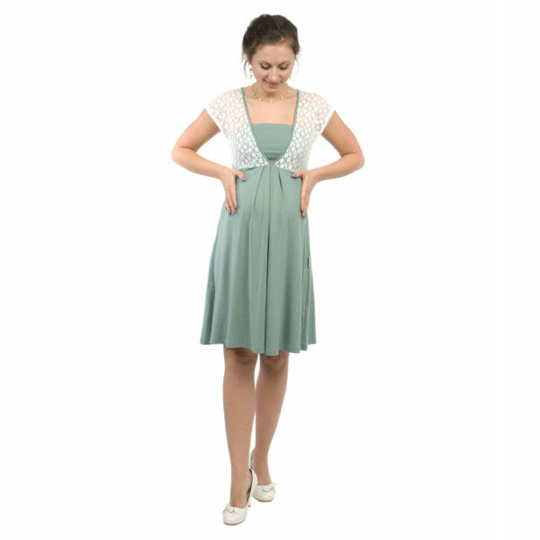 White lace top maternity and nursing dress JULIETTE in mint - pregnant model with hands on her baby bump - full front view