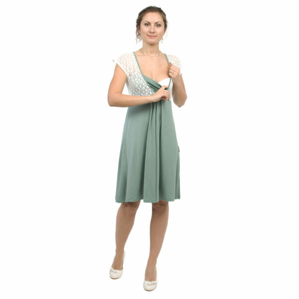 White lace top maternity and nursing dress JULIETTE in mint - model wears dress and shows breastfeeding access