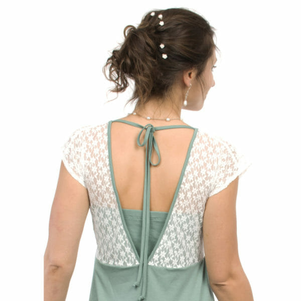 White lace top maternity and nursing dress JULIETTE in mint - model wears dress - view from back with lace top and band