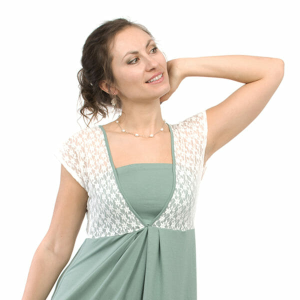 White lace top maternity and nursing dress JULIETTE in mint - model wears dress - close-up of front with lace top