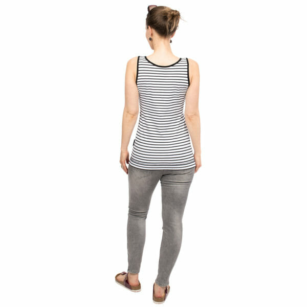 Maternity and nursing tank top SOLEA in black-white-stripes - model wears top - view from back