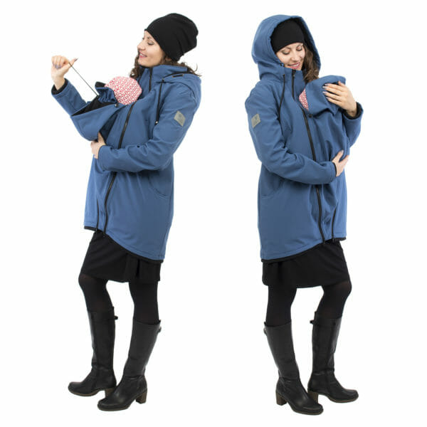 Softshell maternity and babywearing jacket MELLORY in azure - babywearing model on left hand side shows adjustable cord on baby's neck protection and babywearing model on right hand side looks down on her baby in insert