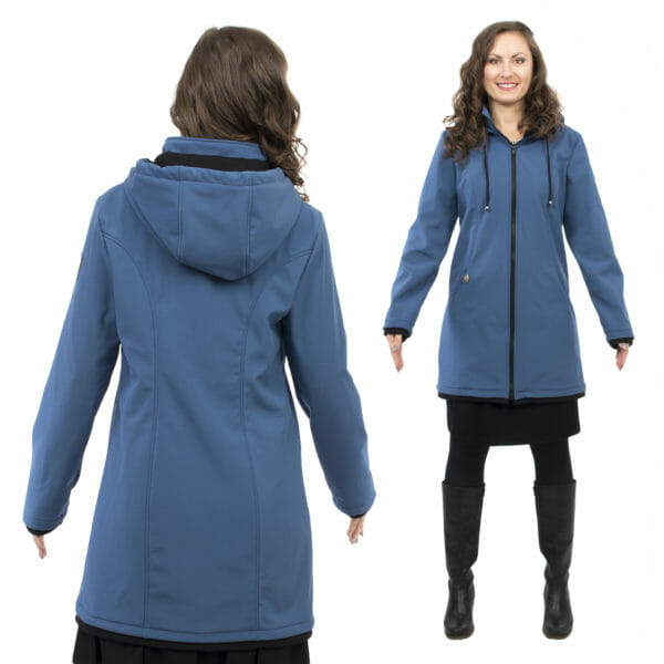 Softshell maternity and babywearing jacket MELLORY in azure - model wears jacket - on left hand side view from back and on right hand side full front view