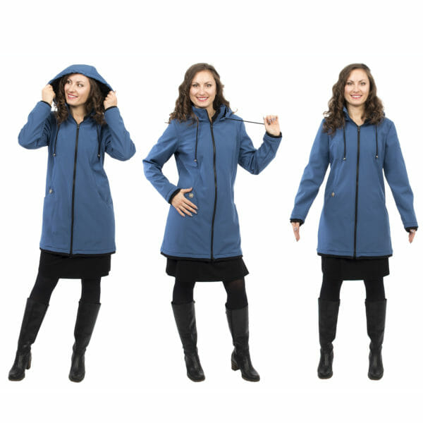 Softshell maternity and babywearing jacket MELLORY in azure - model wears coat - on left hand side with hood on - in middle with adjustable cord in hand on right hand side front view