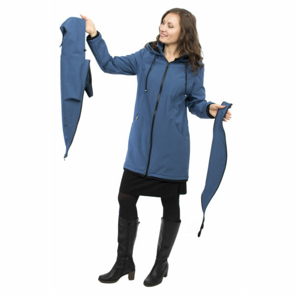 Softshell maternity and babywearing jacket MELLORY in azure - model wears coat and shows babywearing insert in left hand side and pregnancy insert on right hand side