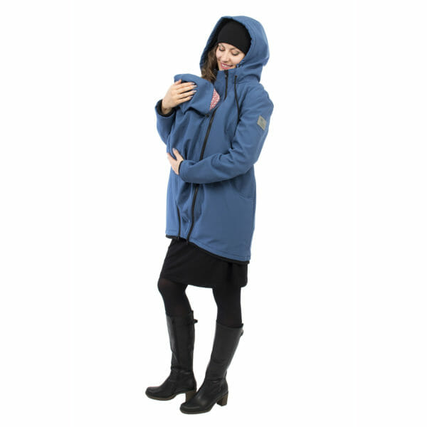 Softshell maternity and babywearing jacket MELLORY in azure - babywearing model wears coat with abybwearing insert and hood on and looks at her baby in insert