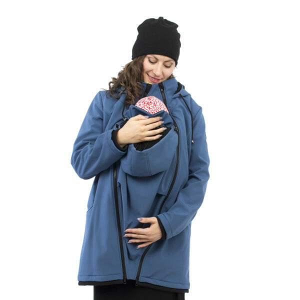 Softshell maternity and babywearing jacket MELLORY in azure - babywearing model looks at baby - front view