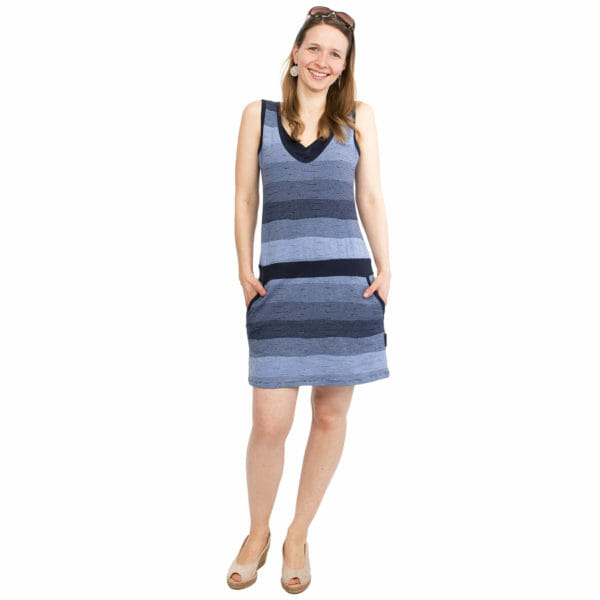 Casual maternity and nursing summer dress COSTA in navy - model wears dress and has both hands in pockets - full front view