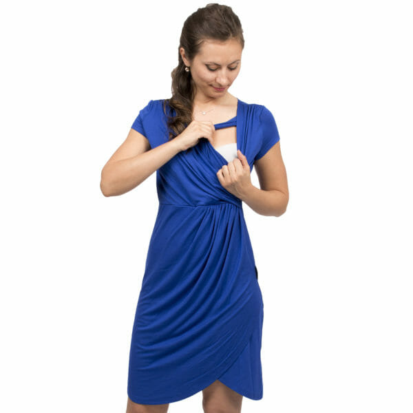 Festive maternity and nursing dress SAMSARA in cobalt-blue - model wears dress and shows breastfeeding access