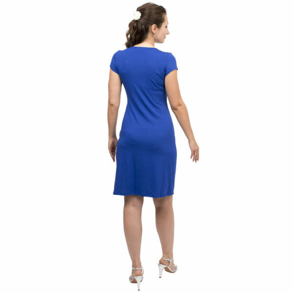 Festive maternity and nursing dress SAMSARA in cobalt-blue - model wears dress with silver sandals - view from back