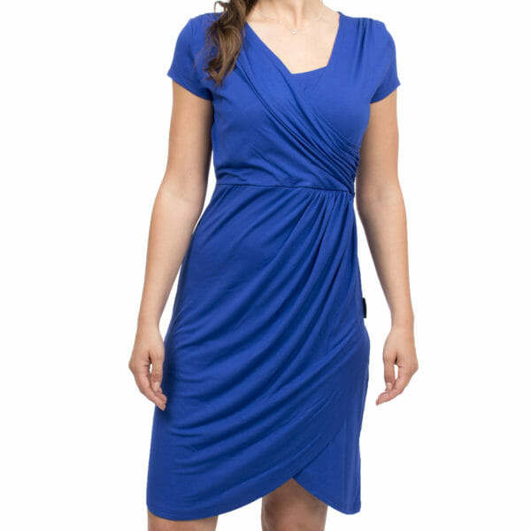 Festive maternity and nursing dress SAMSARA in cobalt-blue - model wears dress - detailed view of front