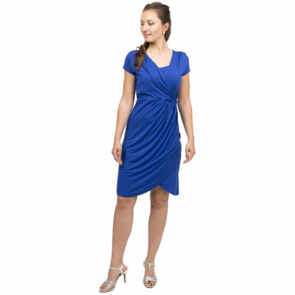 Festive maternity and nursing dress SAMSARA in cobalt-blue - model wears dress with silver sandals - front view