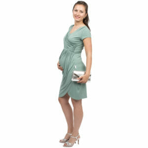 af4762223fd ... Festive maternity and nursing dress SAMSARA in mint-silver - pregnant  model wears dress with