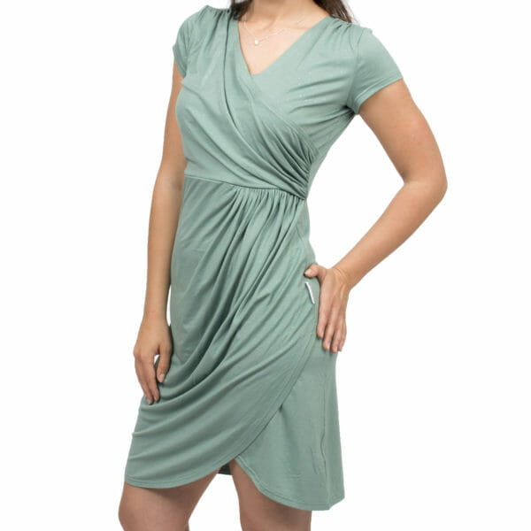 Festive maternity and nursing dress SAMSARA in mint-silver - model wears dress with silver sandals - detailed front view