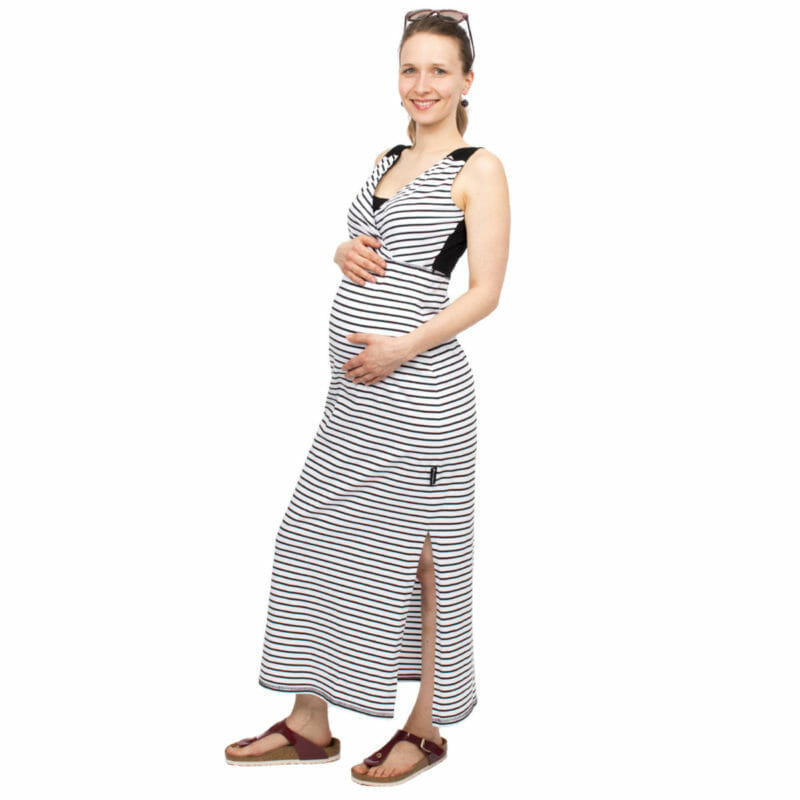 dcc154fb53147 Maternity and nursing maxi dress KAYA in black-white stripes - pregnant  model wears dress