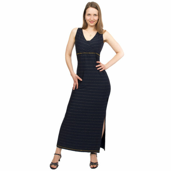 Maternity and nursing maxi dress KAYA in night-blue with golden pine stripes - model wears dress - full front view