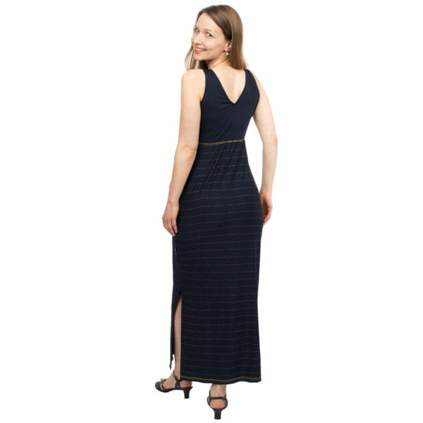 Maternity and nursing maxi dress KAYA in night-blue with golden pine stripes - model wears dress - view from back