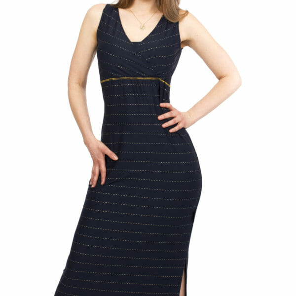 Maternity and nursing maxi dress KAYA in night-blue with golden pine stripes - model wears dress - detailed view of front