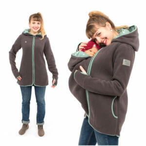 Babywearing jacket Janko in anthracite-mint - model on left wears jacket without inserts and on right hand side babywearing model
