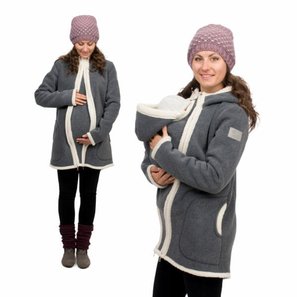 3in1 Maternity and babywearing winter coat fleece ARCTICA in gray-ecru - on the left pregnant model wears coat with pregnancy insert and on the right babywearing model wears coat with carrying insert