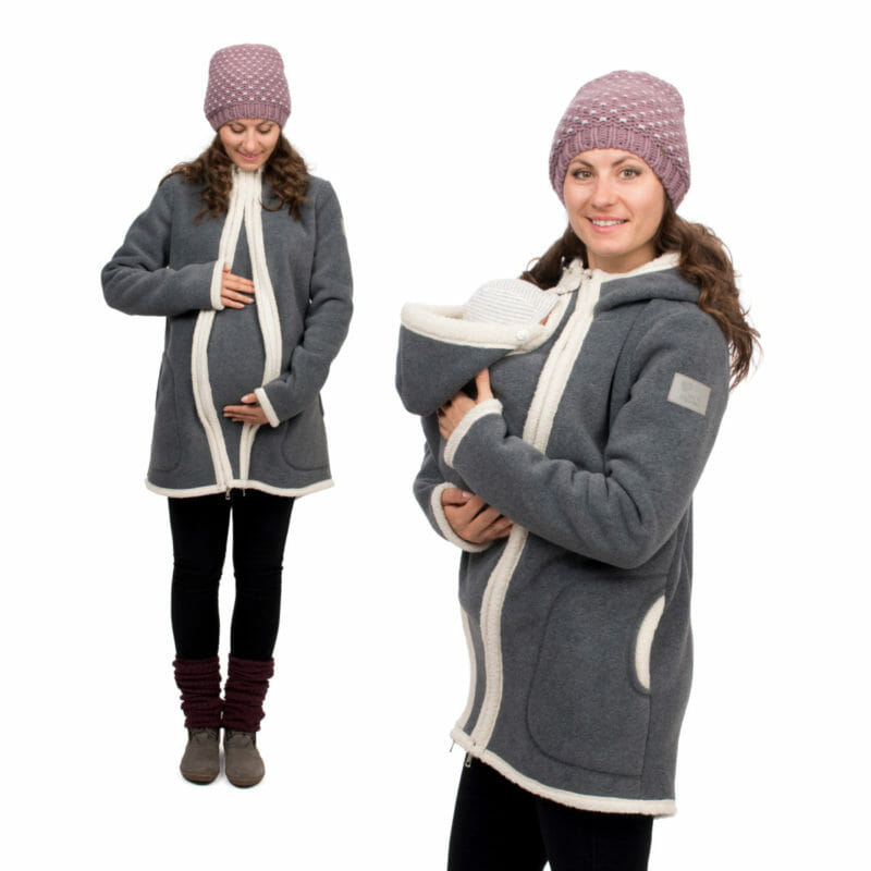 Very cosy grey winter coat with easy to zip-in and out inserts for pregnancy and babywearing. Made of winter fleece with teddy bear fleece lining for extra warmth during the cold season. Long and tailored cut to keep baby\'s feet in the coat and for a feminine look. Adjustable hoods and front zipper which closes right to top. Wear without inserts as a casual winter coat for years to come.