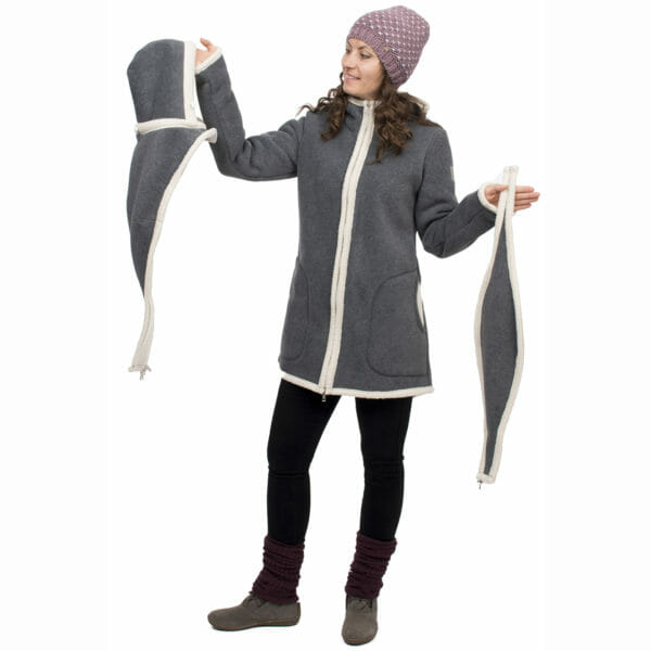 3in1 Maternity and babywearing winter coat fleece ARCTICA in gray-ecru - model wears coat and shows babywearing insert on the left and pregnancy insert on the right
