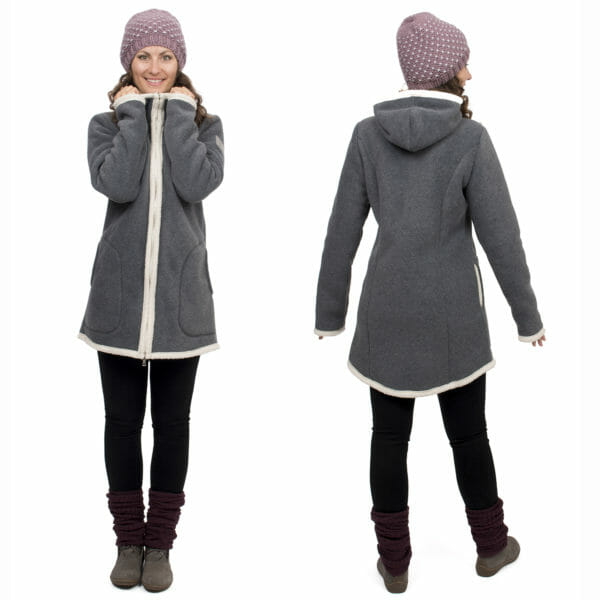 3in1 Maternity and babywearing winter coat fleece ARCTICA in gray-ecru - model wears coat without inserts - on the left in front view and on the right view from back