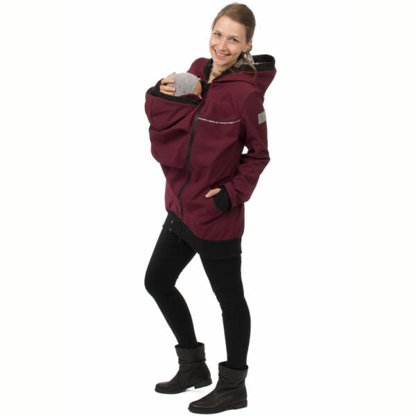 4in1 babywearing coat softshell AVENTURIS in bordeaux - babywearing model with insert at front