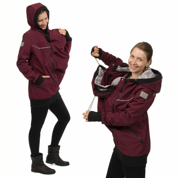 4in1 babywearing coat softshell AVENTURIS in bordeaux - babywearing model on left hand side with insert at front and hood up and on right hand side model shows adjustable cords on baby's hood