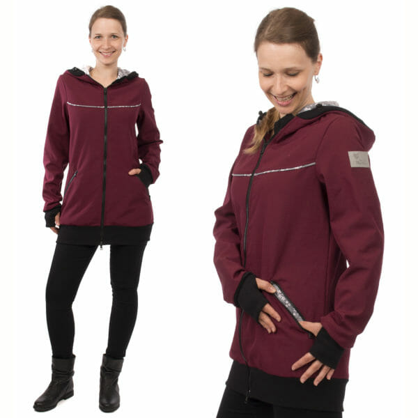 4in1 babywearing coat softshell AVENTURIS in bordeaux - model wears coat without inserts - on left hand side front view and on right hand side side view