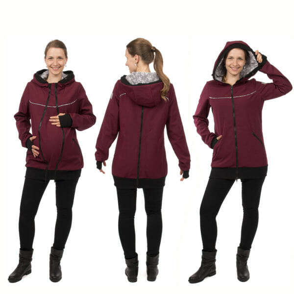 4in1 babywearing coat softshell AVENTURIS in bordeaux - photo shows model wearing coat with pregnancy insert on left, middle from back and on right front view with hood on