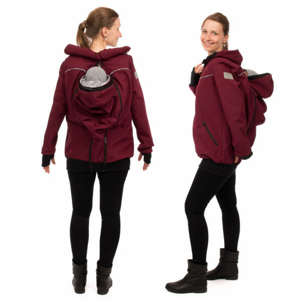 4in1 babywearing coat softshell AVENTURIS in bordeaux - babywearing model wears coat with insert at back - on left hand side view from back and on right hand side in side view