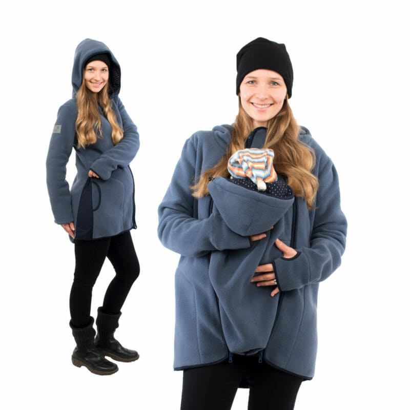 Chic 3in1 babywearing fleece jacket in steel-blue for carrying from spring to fall. It\'s also a perfect pregnancy hoodie to keep you warm on cooler days. Just open zips on side for more width. With lining in navy with white dots as a lovely contrast. Comes with an easy to zip-in insert for babywearing. Without insert you have a comfortable casual jacket for your outdoor activities. Stylish, warm and practical.