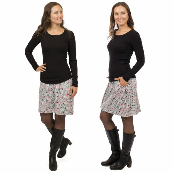 2in1 maternity skirt JORIS in light grey with triangles - model wears skirt without baby bump - on the left in front view and on the right side view
