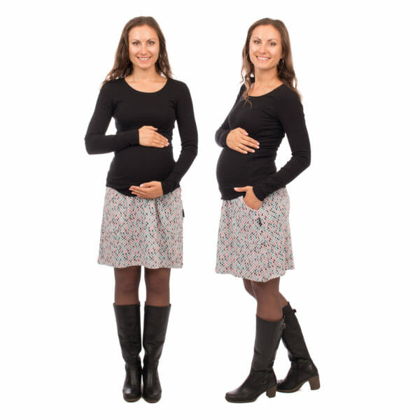 2in1 maternity skirt JORIS in light grey with triangles - pregnant model wears skirt - on the left with arms around baby bump in front view and on the right side view