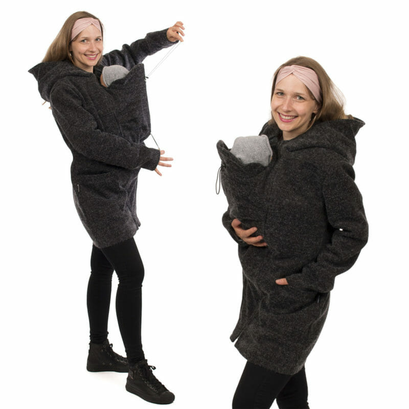 Beautifully feminine winter coat for pregnant and baby carrying mums with winter babies. This coat comes in anthracite, has a tailored cut and is long enough to keep you warm. With generous hood, deep pockets and adjustable inserts. The PLUS in the name stands for the additional option to zip-in the carrying insert at the back. A truly cosy winter coat for mums who like it chic, stylish and practical. Without inserts you can wear the coat as an elegant coat for fall or winter. #vivalamama