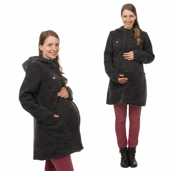 3in1 winter maternity and carrying coat VALENTIN in anthracite - pregnant model wears coat with insert - on the left sideview and on the right front view