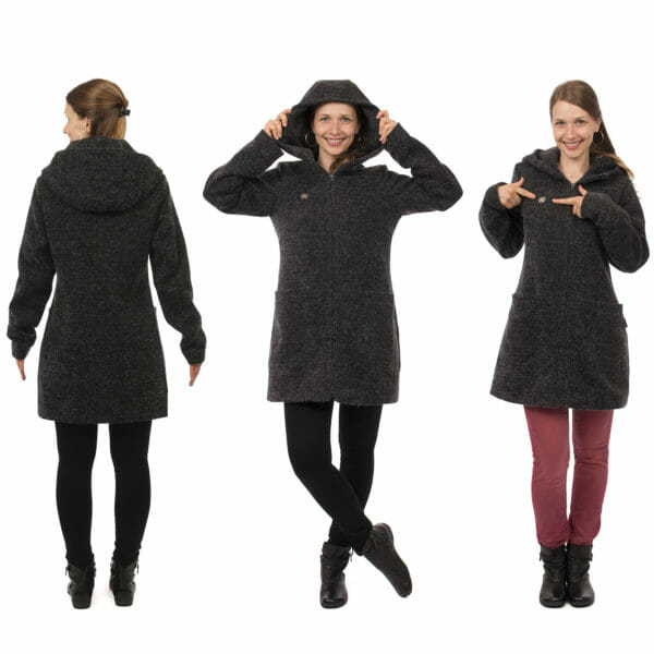 3in1 winter maternity and carrying coat VALENTIN in anthracite - model wears coat without inserts - on the left view from back, middle front view with hood on and on the right front view with model pointing to heart logo