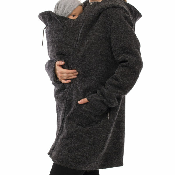 3in1 winter maternity and carrying coat VALENTIN in anthracite - babywearing model wears coat - detailed view
