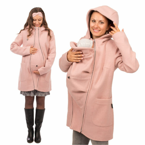 3in1 winter maternity and carrying coat VALENTIN in pink - model wears coat - on the left with pregnancy insert and on the right with carrying insert and hood on