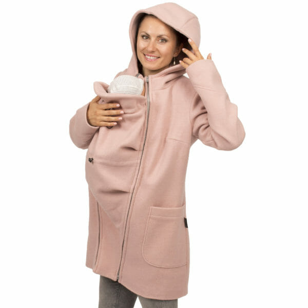 3in1 winter maternity and carrying coat VALENTIN in pink - babywearing model wears coat and has hood on