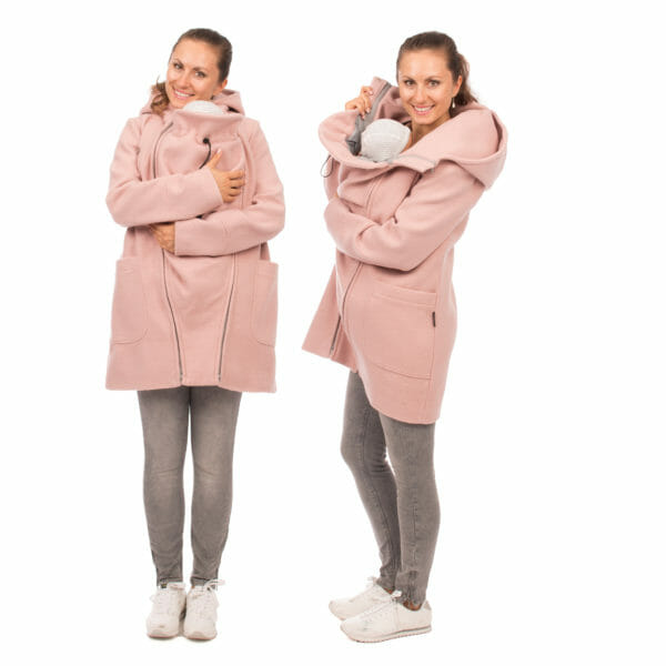 3in1 winter maternity and carrying coat VALENTIN in pink - babywearing model wears coat with insert - on the left in front view and on the right in side view