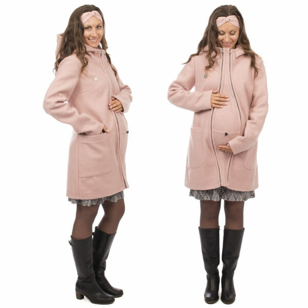 3in1 winter maternity and carrying coat VALENTIN in pink - pregnant model wears coat with insert - on the left in side view and on the right front view