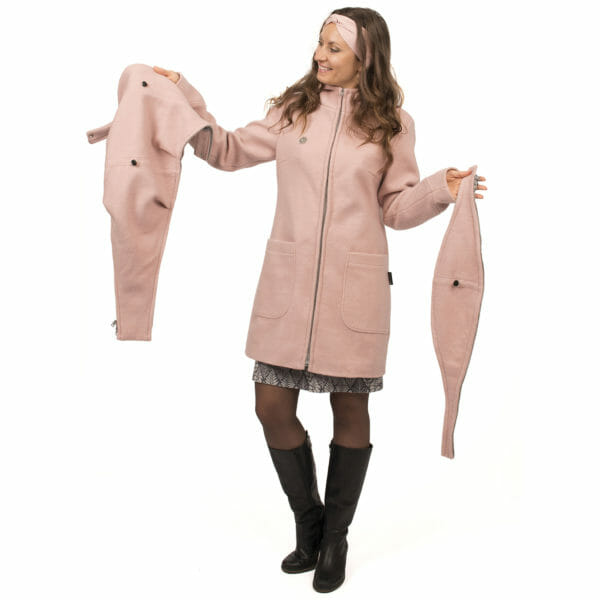 3in1 winter maternity and carrying coat VALENTIN in pink - model wears coat and shows inserts - on the left carrying insert and on the right pregnancy insert