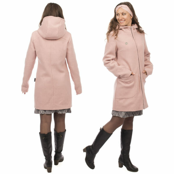 3in1 winter maternity and carrying coat VALENTIN in pink - model wears coat without inserts - on the left from back and on the right side view
